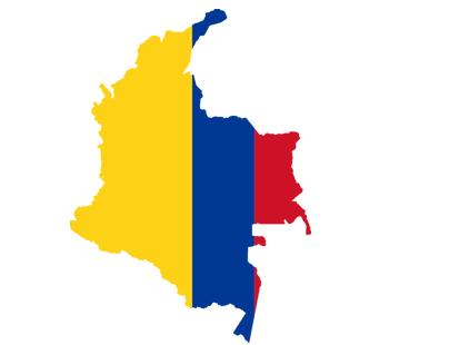 Umriss von Kolumbien mit Flagge