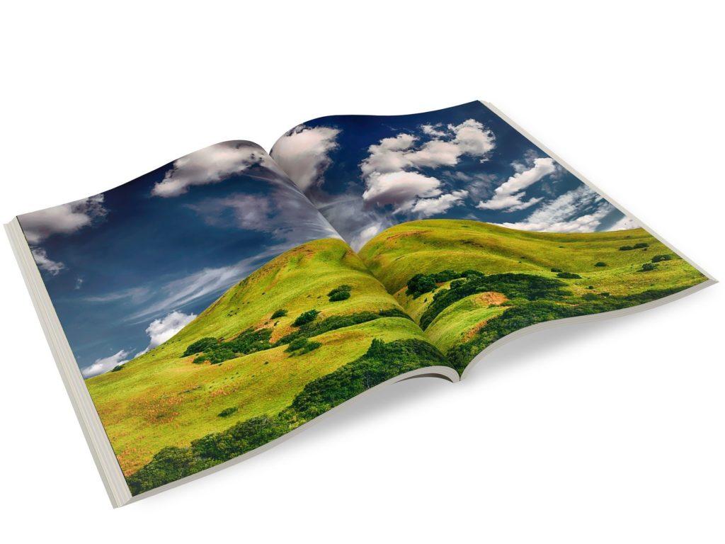 (dekorativ): Ein aufgeschlagenes Fotobuch, das eine grüne Landschaft zeigt