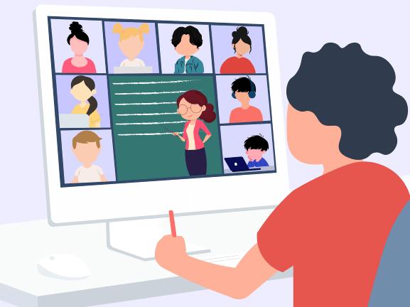 Illustration: Lernen via Videokonferenz